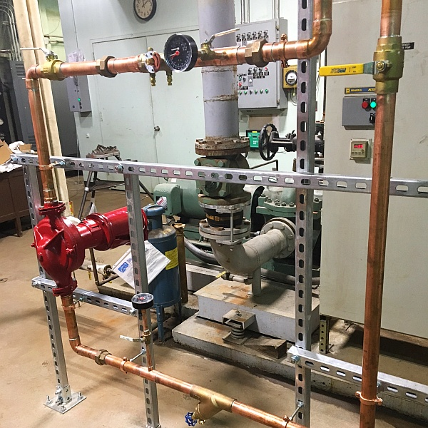 Reposition, upgrade and repair the outdated circulation pump at the Baltimore County Office Building, and upgrade the pneumatic controls to a Honeywell DDC system